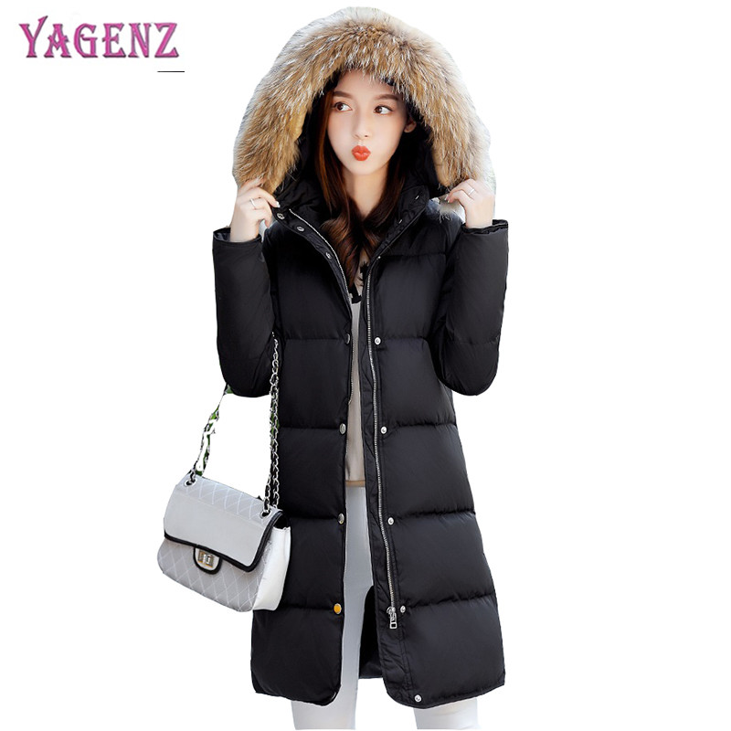 Winter Womens Long Feather Cotton Jacket 2018 High Quality Warm Cotton Outerwear Hooded Fur Collar Plus size Cotton Overcoat B73 womens parkas with fur hoods winter warm long denim jeans velvet hooded long ladies wool coat jacket 2017 plus size blue clothes