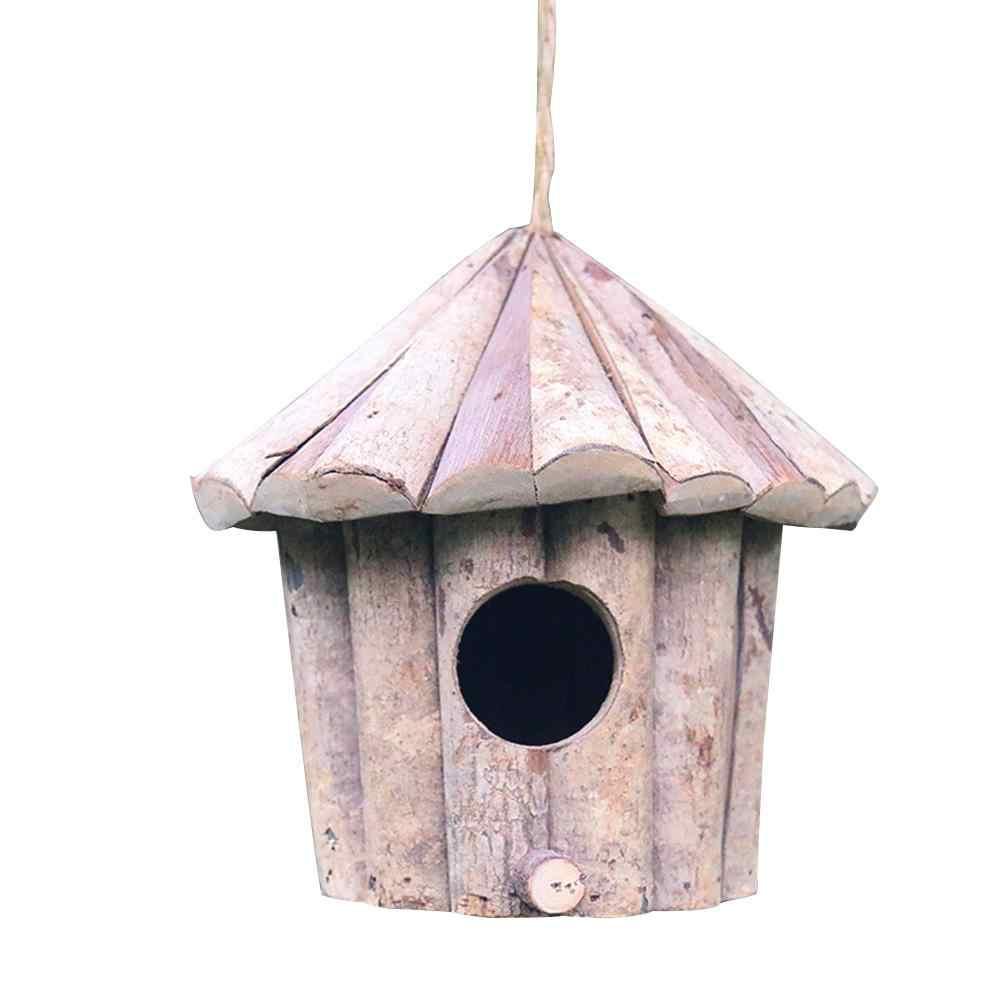 Monokweepjy Handmade Bird Bird bird เป็นมิตรกับสิ่งแวดล้อม Whitewood รอบหลุมรังนกหัตถกรรม Solid น้ำยาฆ่าเชื้อ Birdhouse สต็อก