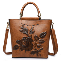 High quality Women Leather Bucket Shoulder Bags Large Handbags Embroidery Messenger Bag Embossing Printing retro Floral bolsa