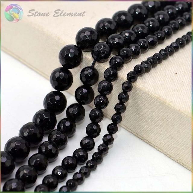 Натуральная натуральный черный Турмалин граненые Свободные Круглые бусины 4 мм, 6 мм, 8 мм, 10 мм