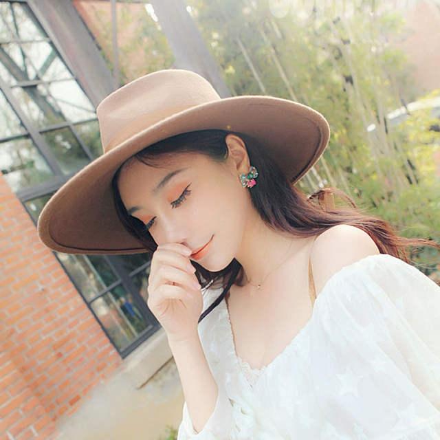 79abf52c677 Fibonacci 12cm Large Brim Fedora Men Women Fashion Jazz Hat Autumn Winter  Trilby Wool Felt Hats for Women Jewish Hat-in Fedoras from Apparel  Accessories on ...