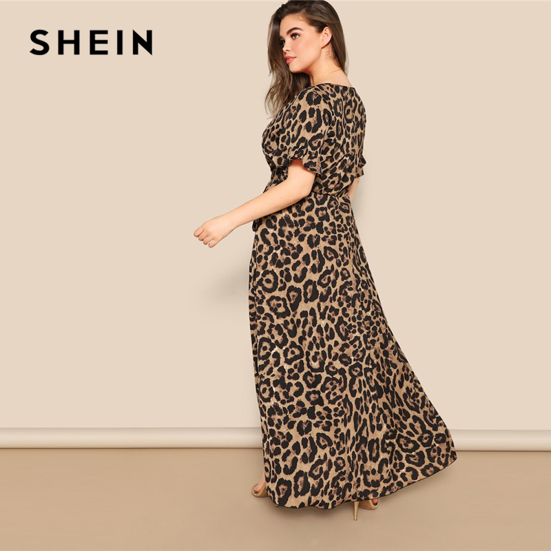 Image 3 - SHEIN Women Plus Size Flounce Sleeve Tie Waist Surplice Wrap 