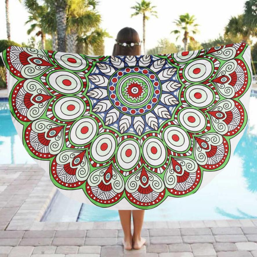 New Big Sell Round Beach Pool Home Shower Towel Polyester Blanket Table Multicolor Cloth Yoga Mat Dec 18