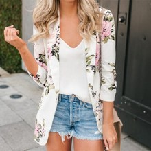 Ladies Retro Floral Zipper Up Bomber Jacket Women Casual Coat Outerwear Clothes Female White Blazer