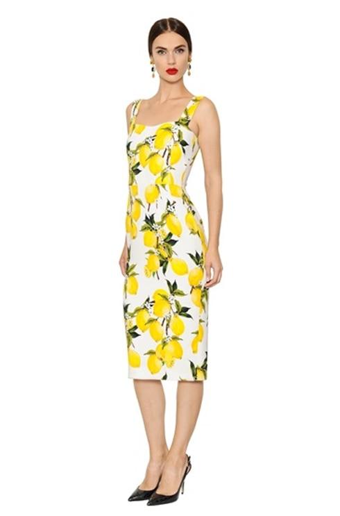 7a7287fbb797 Customize Womens Summer Fashion Slim Fit Sleeveless Bodycon Black White  Long Lemon Print Dresses Vestidos Plus Size 3XS-10XL
