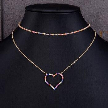 Regalo di Giorno della madre 2 IN 1 Dainty Iniziale Collana girocollo Personalizzato Cuore Impilabile Monili Della Collana per le donne regalo fidanzata