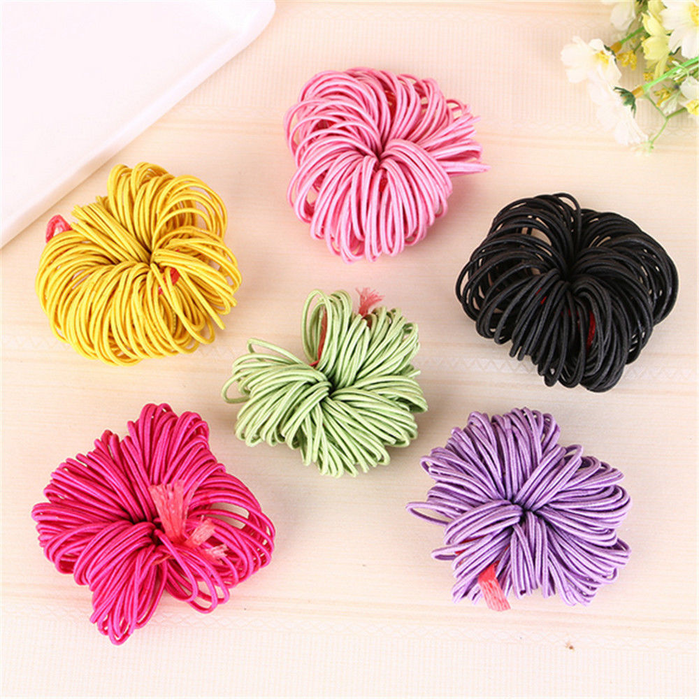 100pcs/lot Elastic bands Ponytail Holder Rubber Hair Elastic Accessories for Girls Women Multicolor Tie Gum 2017 Hot Sale halloween party zombie skull skeleton hand bone claw hairpin punk hair clip for women girl hair accessories headwear 1 pcs