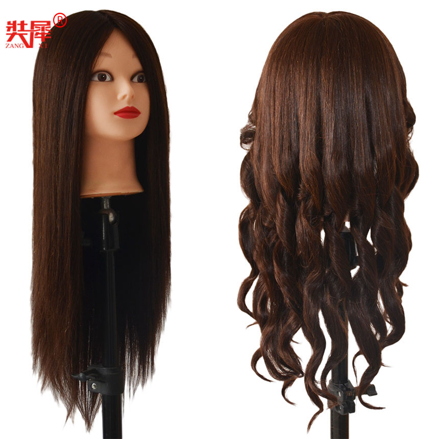 Training Mannequin Head With 80% Dark Brown Human Hair Dolls Styling Manikin Head Female Wig Head With Free Table Holder