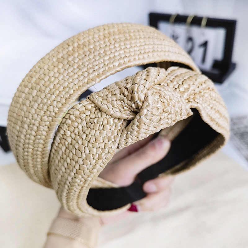 Богемная винтажная соломенная плетеная повязка для волос, аксессуары для волос