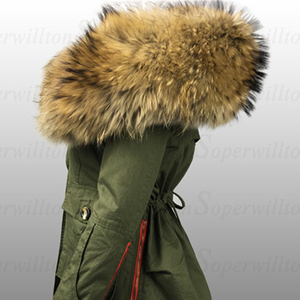 Image 1 - Меховой воротник из натурального меха енота, роскошный шарф из 100% натурального меха, шарфы Desigual, теплый женский зимний пуховик с капюшоном # BF01