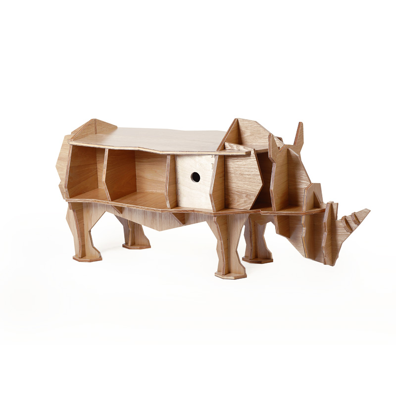 S size 3D Rhino plywood furniture self-build puzzle furniture free shipping christmas deer table european diy arts crafts home decorative elk wood craft gift desk self build puzzle furniture