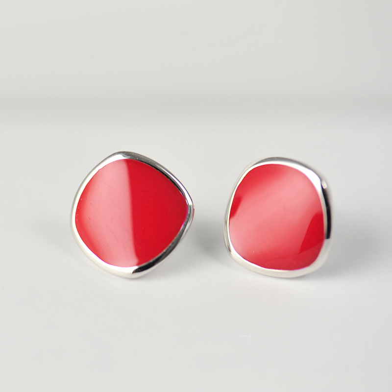 New Arrival Fashion 925 Sterling Silver Red Color Geometry Earrings for Women Girls Gift Fashion Statement Jewelry 2016