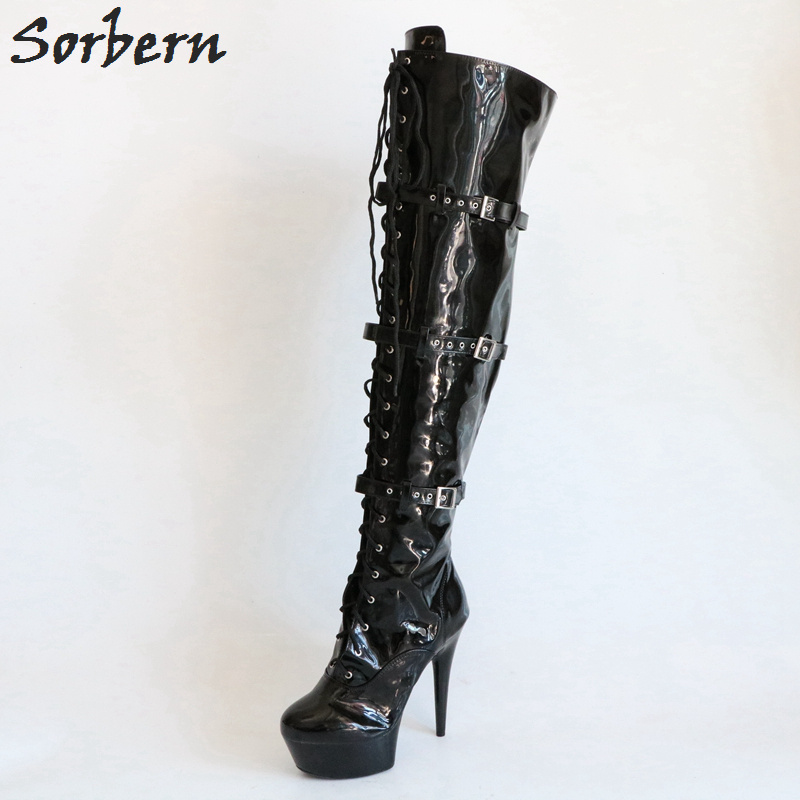 Sorbern Black Boots Women 15Cm High Heels Over The Knee Thigh High Boots Women Platform Shoes Women Fall Boots Runway Shoes цена