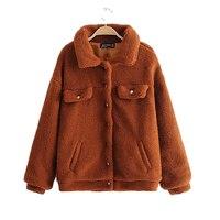 Casual Faux Fur Coat female jacket Autumn Winter Warm Soft Fur jacket baseball woman Plush Lapel Sweatshirt coat female