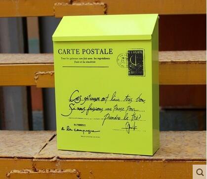 British Rain Suggestion Box Tin Trunk Painted Red Mailbox
