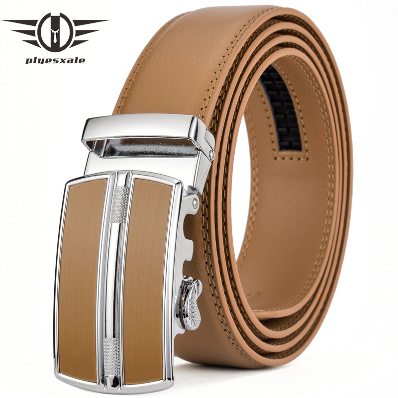 Plyesxale Blue Red Light Brown Belt Men Luxury Brand Men's Genuine Leather Automatic Buckle Cinturones Hombre Dropshipping G76