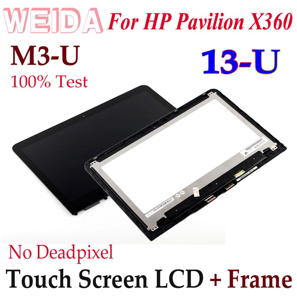 WEIDA LCD Touch Digitizer For HP PAVILION X360 13U Touch Screen LCD Display Assembly Frame 13-U119TU 13-U Series M3-U Replace