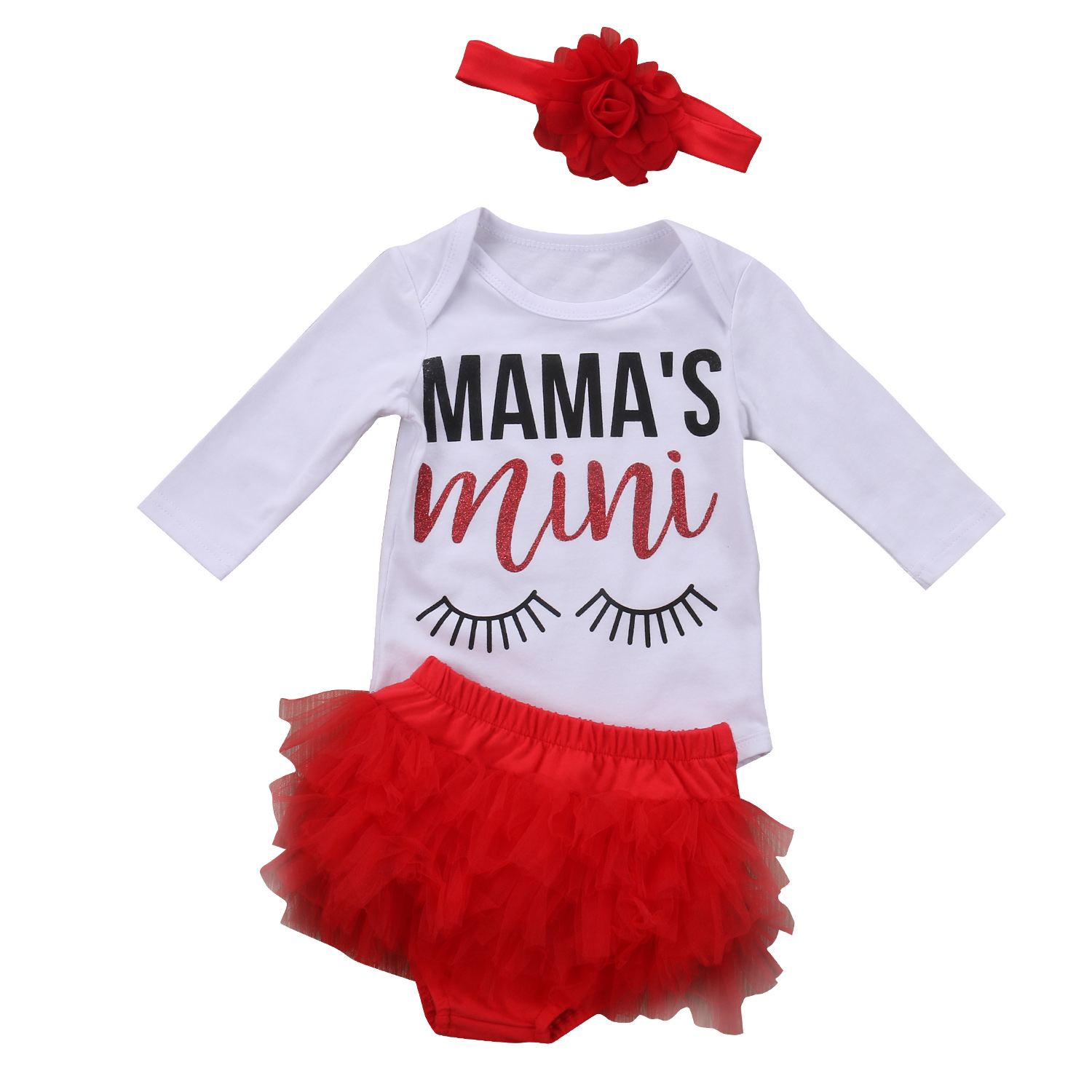 3PCS Cute Newborn Baby Girl Clothes Cotton Long Sleeve Romper Lace Tutu Shorts Skorts Headdress Outfits Baby Clothing Set