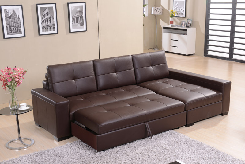 Leather Sofa Living Room Corner Multifunction Storage Simple Modern Bed