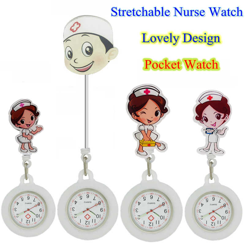 White Angel Male Female men women Nurse Doctor Medical Hospital Badge Reel Watch Stretchable Silicone Cartoon Pocket Watches