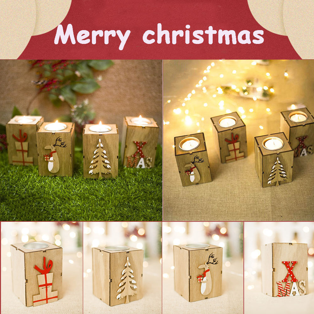 Christmas Reindeer Sleigh Candle Holder Candlestick Party Table Decor Creative Home Decor Candle Accessories Home & Garden