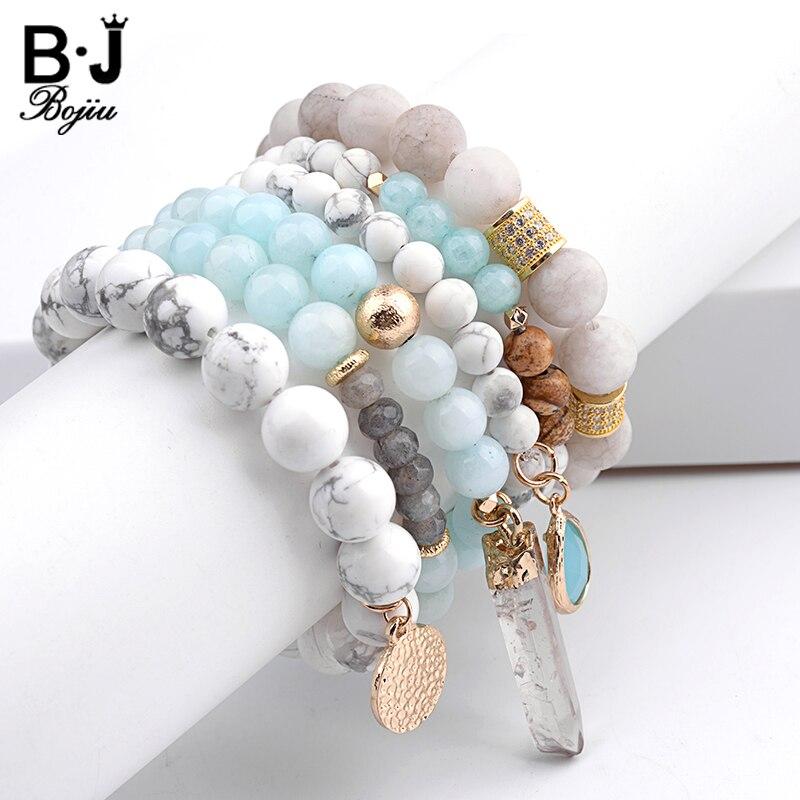 BOJIU Trendy Women Bracelet Set Natural Ag. Stone Glass Bead