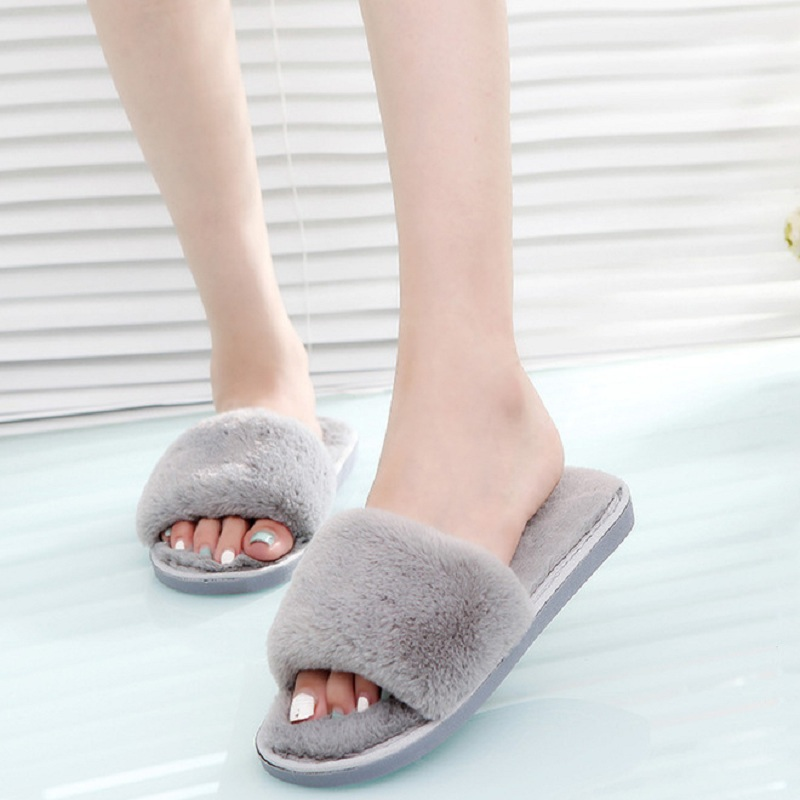 все цены на Winter Fur Slippers Fluffy Slippers Indoor Home Shoes Fluffy Slides Warm Plush Flat Shoes Women Black Pink Chaussure Femme
