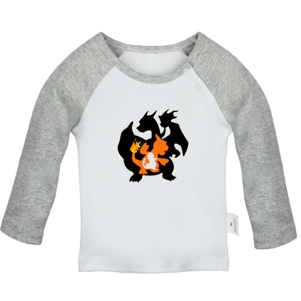 Черная вуаль невесты BVB мультфильм Покемон чармандер дизайн новорожденных Футболки для малышей Графический Реглан цвет футболки с длинными рукавами