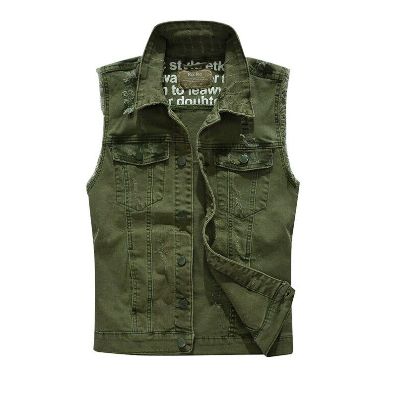 MoneRffi 2019 Slim Fit Cowboy Male Jacket Vest Ripped Denim Vest Men's Jacket Sleeveless Casual Waistcoat Men's Jean Coat Green