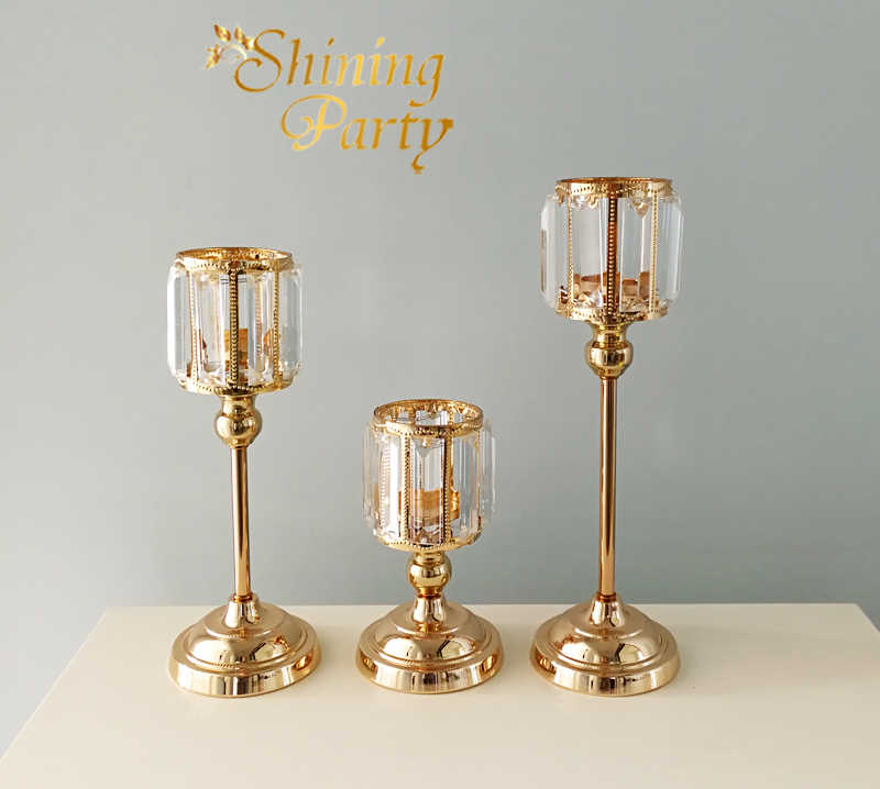 Crystal Candle Holder, Metal Gold Wedding Centerpiece, Candlestick, Free Ship, Wedding Party  Home Christmas Decoration