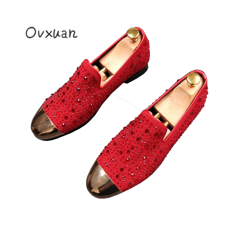 Ovxuan Bright Rhinestone Men Casual Flat Shoes Metal Toe Red Wedding Shoes Men Loafers Fashion Party and Banquet Men Dress Shoes luxury pointed toe rivet casual shoes england designer party and banquet men loafers fashion young man walking street shoes