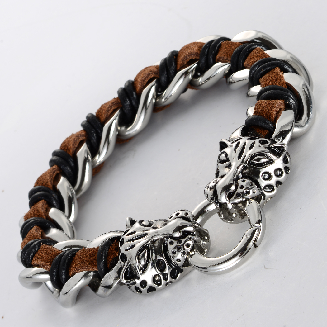 Men stainless steel leather hyena bracelet 316L biker heavy jewelry gifts silver tone KL08 wholesale dropship 8.5