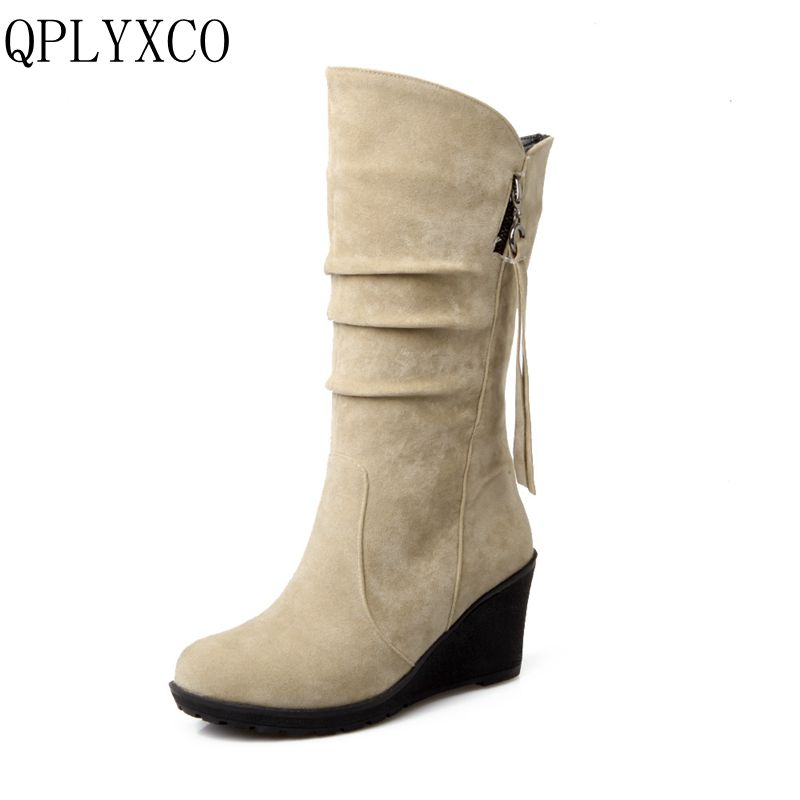 QPLYXCO 2017 new sale big small Size 28-52 Mid-Calf Boots Winter Warm Short Plush Boots Women wedges high Heeled Shoes 188-2 double buckle cross straps mid calf boots