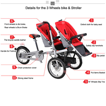 16inch Carrier Bicycle Carrinho Double Baby Seats for twins 3 in1 Strollers Folding Mother Bike Pushchair