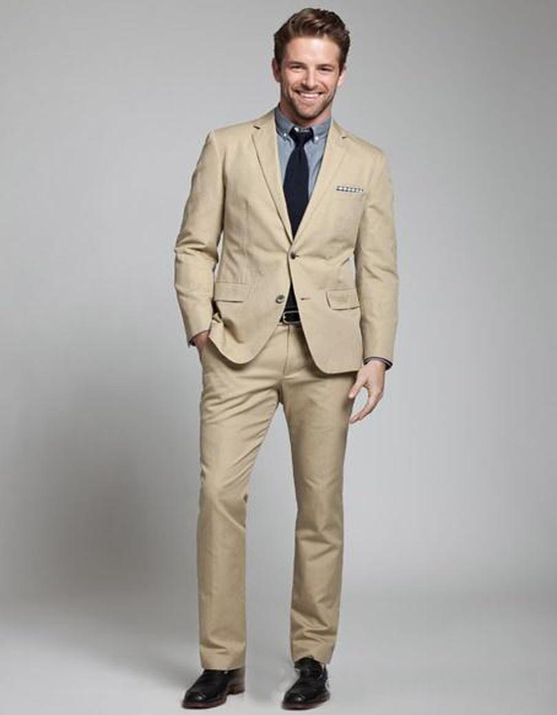 2018 Fashion Linen Men Suits Beige Mens Wedding Suits Tuxedos ...