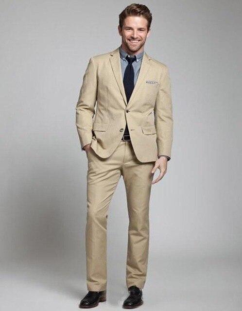 2018 Fashion Linen Men Suits Beige Mens Wedding Suits Tuxedos ...