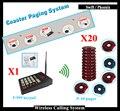 Sistema de pager coaster de Fast Food Com 1 Pc Transmissor E 20 pcs Coaster Pager E Carregador Para Pagers Sem Fio