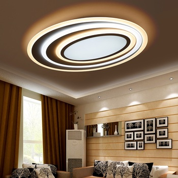 Luces LED de techo corrugadas artísticas de acrílico postmodernas para sala de estar dormitorio estudio Oval luces de techo de atenuación Ultra delgada AC110V-240V