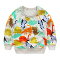 Мальчики футболки осень 2017 новый мультфильм динозавр с длинными рукавами для детей футболка для мальчика одежда милые животные печатных малыш мальчик т рубашка