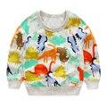 Meninos camisetas outono 2017 novo dinossauro dos desenhos animados da longo-luva crianças t-shirt para o menino roupa bonito impresso animal do menino da criança t camisa