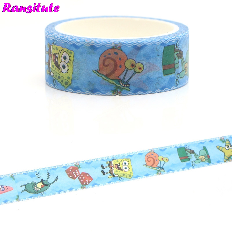 Ransitute R385 SpongeBob SquarePants Children's Toys Washi Tape Traffic Tape Toy Car Decoration Hand Sticker