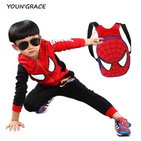 2016 New Design Kids Spiderman Tracksuit With School Bag Fashion Boys Spring Cotton Spiderman Sports Suit