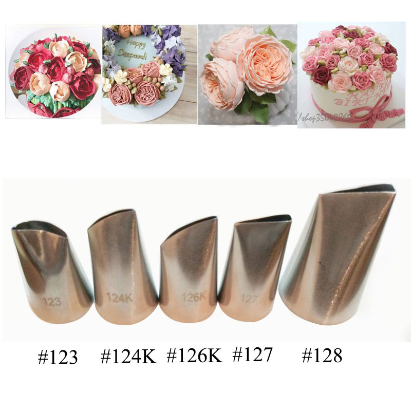 5 stk Rose Petal Metal Cream Tips Cake Decorating Værktøj Ståliscing Piping Dyser Set Cake Cream Udsmykning Cupcake Pastry Tool