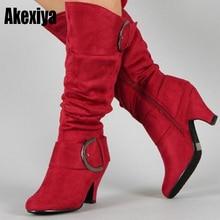 Большой размер 43; коллекция года; сапоги до колена; Женская Осенняя обувь из искусственной замши с пряжкой; модная женская обувь на шпильках; зимняя обувь; Лидер продаж