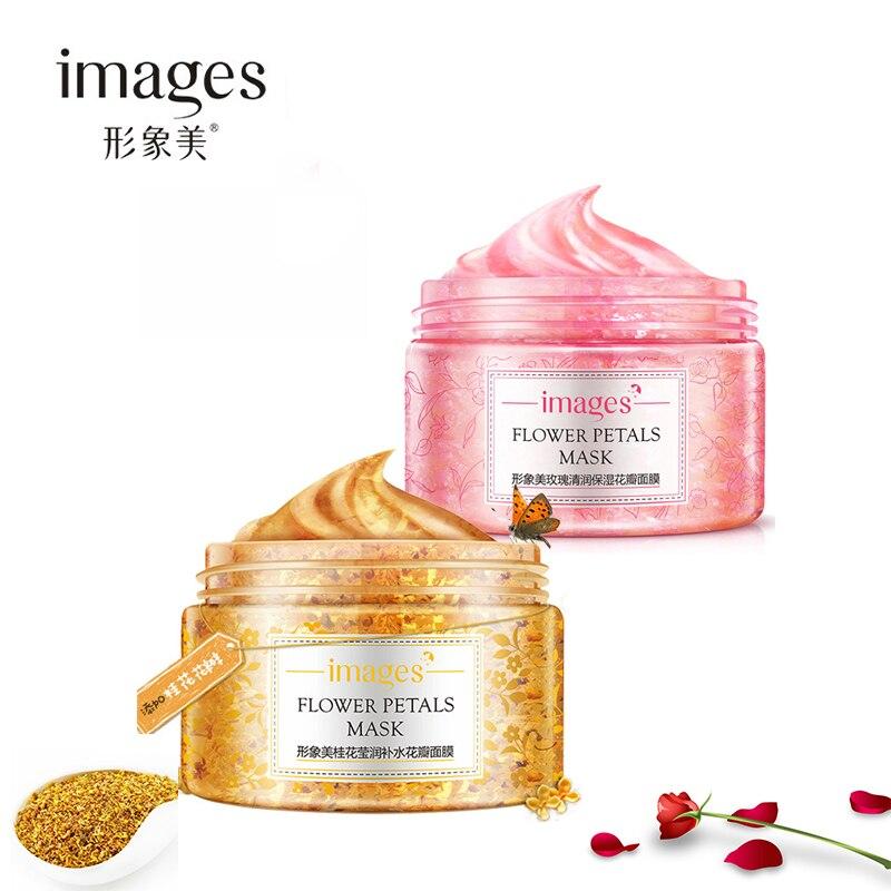 2 יחידות תמונות רוז פרח עלי כותרת & Osmanthus פנים מסכת לחות הלבנת אנטי-הזדקנות עור פנים טיפול מסכת שינה סט