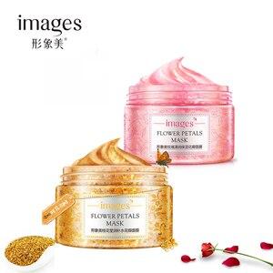 2 pçs imagens pétalas de flores rosa & osmanthus máscara facial hidratante branqueamento anti-envelhecimento cuidados com a pele facial dormir máscara conjunto