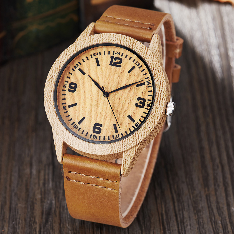 Imitate Wood Watch Men Women Imitation Wooden Watch Ostrich Deer Man Wristwatch Soft Leather Band Male Quartz Wrist Clock Reloj