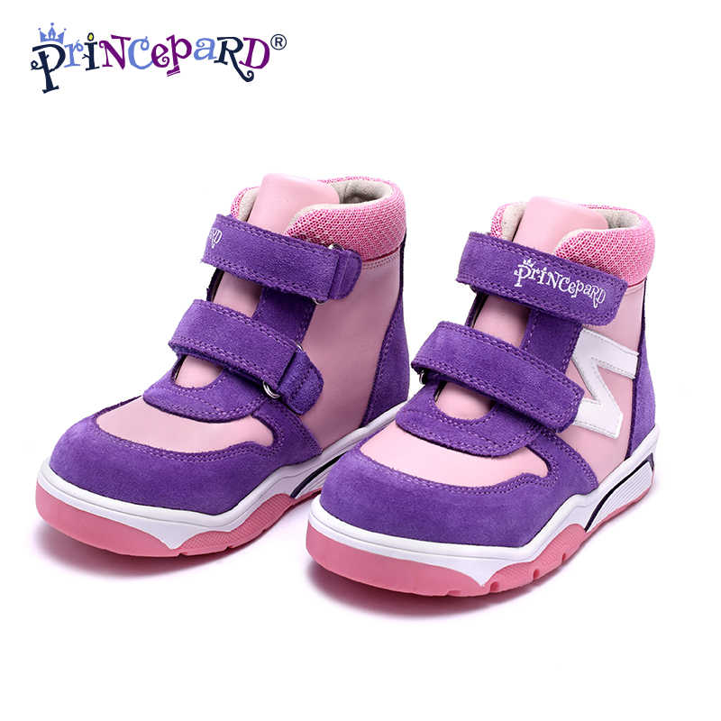 Princepard Premium kalite sıcak sentetik kürk ortopedik kışlık botlar kızlar çocuklar için ayak bileği desteği ile ortopedik ayakkabılar