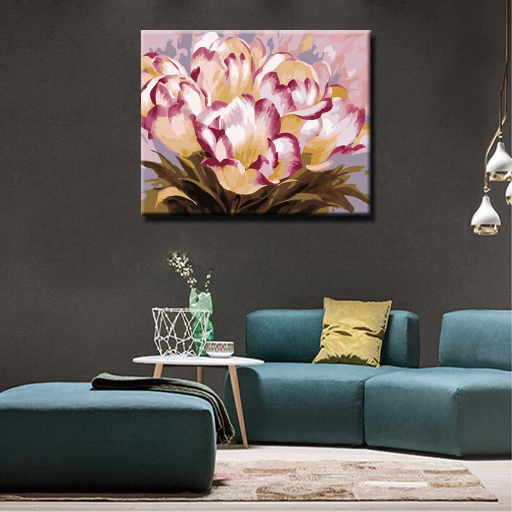 WEEN Blooming Flowers-Painting By Numbers,Hand painted Paint By Number On Canvas, DIY Oil Canvas Painting,Wall Art Picture