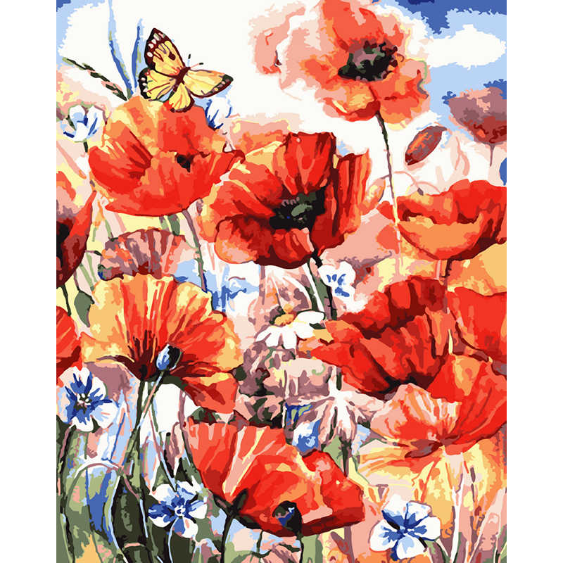 Frameless picture on wall acrylic paint by numbers diy painting by numbers unique gift oil painting the Corn poppy flowe 40X50CM